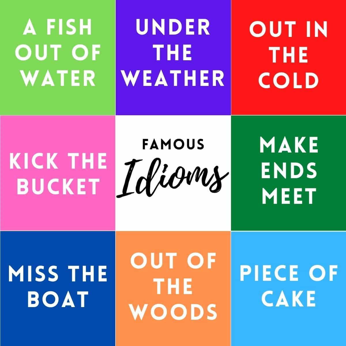 famous idioms include: a fish out of water, under the weather, out in the cold, make ends meet, piece of cake, out of the woods, miss the boat, and kick the bucket